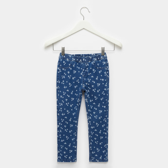 Comfort Fit Full Length Floral Print Jeggings with Elasticated Waist