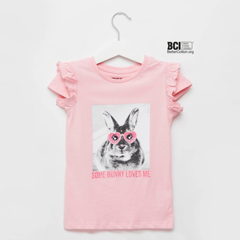 Bunny Graphic Print T-shirt with Round Neck and Cap Sleeves