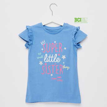 Graphic Print T-shirt with Round Neck and Frill Detail