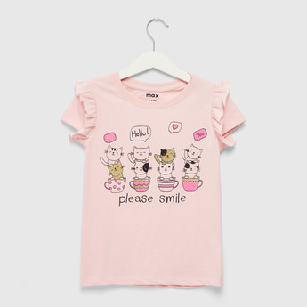 Cat Print Round Neck T-shirt with Cap Sleeves