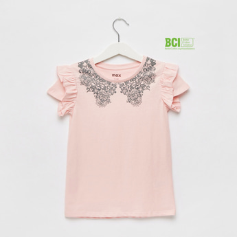 Printed Round Neck T-shirt with Cap Sleeves and Ruffle Detail