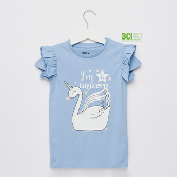 Swan Print T-shirt with Cap Sleeves with Pleat Detail
