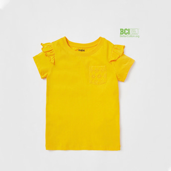 Solid T-shirt with Frill Detail Sleeves and Broderie Chest Pocket