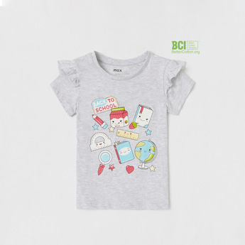 Stationery Themed Graphic Print T-shirt with Cap Sleeves