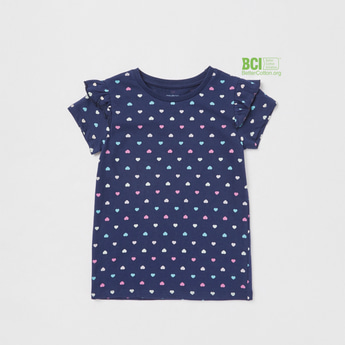 All-Over Heart Print T-shirt with Round Neck and Cap Sleeves