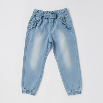 Solid Jog Pants with Bow and Ruffle Detail
