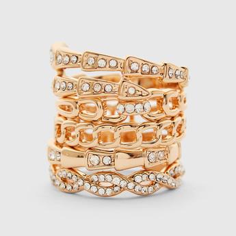 Set of 5 - Stone Studded Finger Ring