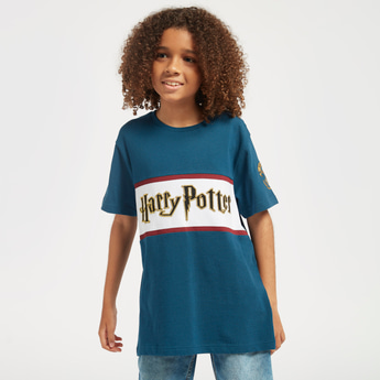 Harry Potter Print T-shirt with Round Neck and Short Sleeves