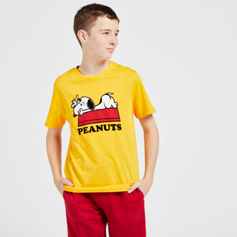 Peanuts Print Round Neck T-shirt with Short Sleeves