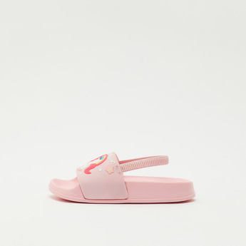 Unicorn Applique Slip On Sliders with Slingback Strap