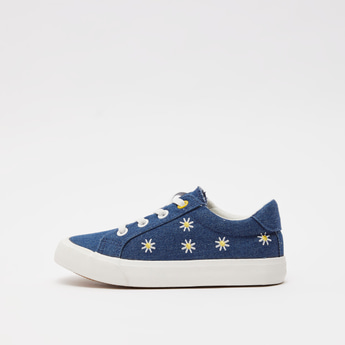 Floral Embroidered Lace-Up Shoes