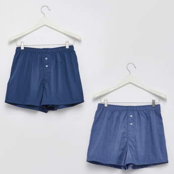 Set of 2 - Plain Boxers with Elasticised Waistband