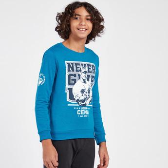WWE Print Round Neck Sweatshirt with Long Sleeves