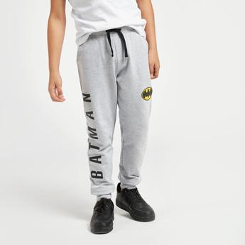 Batman Print Jog Pants with Pockets and Logo Detail
