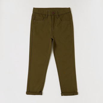 Textured Full Length Pants with Button Closure and Pockets