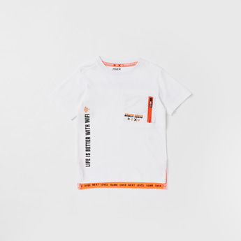 Text Print T-shirt with Round Neck and Zip Detail
