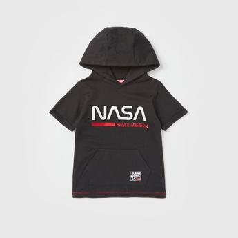 NASA Print Hooded T-shirt with Short Sleeves
