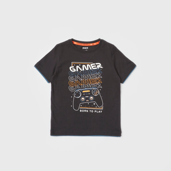Graphic Print Glow In The Dark T-shirt with Short Sleeves