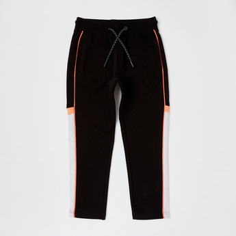 Solid Pants with Drawstring and Side Panel