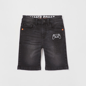 Embossed Denim Shorts with Button Closure and Pockets