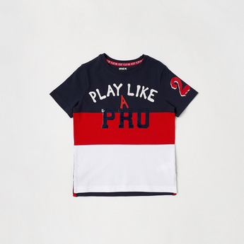Typographic Print Colourblocked T-shirt with Short Sleeves