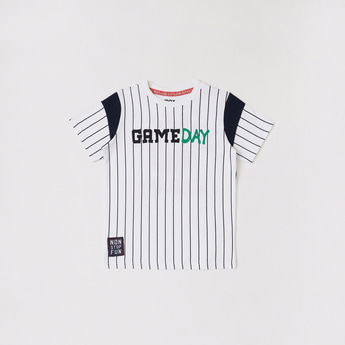 Striped and Text Print Round Neck T-shirt with Short Sleeves