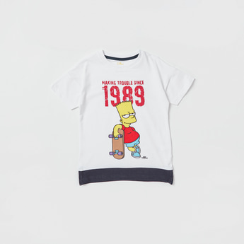 The Simpsons Print T-shirt with Round Neck and Short Sleeves