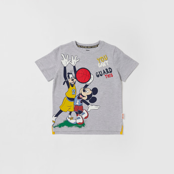 Mickey and Friends Print T-shirt with Round Neck and Short Sleeves