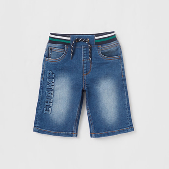 Champ Embossed Denim Shorts with Pockets