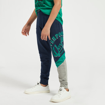 Printed Knit Joggers with Elasticated Drawstring Waist and Pockets