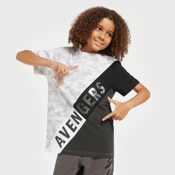 Avengers Foil Print T-shirt with Cut and Sew Detail