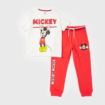 Mickey Mouse Print T-shirt and Jog Pants Set