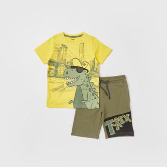 Dino Print Short Sleeves T-shirt and Knee Length Shorts Set