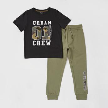 Embossed Short Sleeves T-shirt and Jog Pants Set