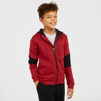 Text Embossed Zip Through Jacket with Hood and Long Sleeves