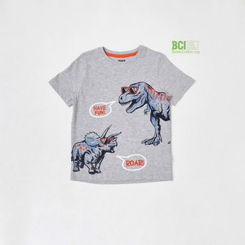 Graphic Printed Round Neck T-shirt with Short Sleeves