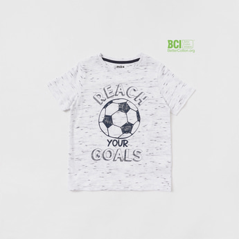 Football Graphic Print Round Neck T-shirt with Short Sleeves