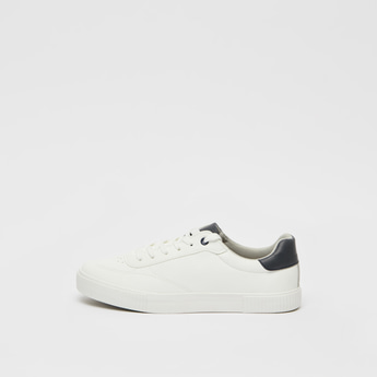 Perforated Lace-Up Sneakers with Stitch Detail