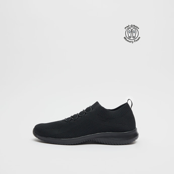 Textured Sports Shoes with Pull Tab and Lace-Up Detail