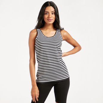Striped Sleeveless Vest with Round Neck