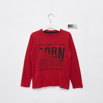Text Print Print T-shirt with Round Neck and Long Sleeves