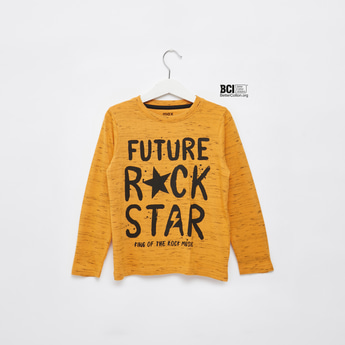 Injected Slogan Print T-shirt with Long Sleeves