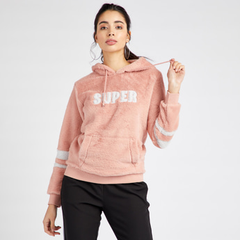 Textured Hoodie with Long Sleeves and Kangaroo Pockets