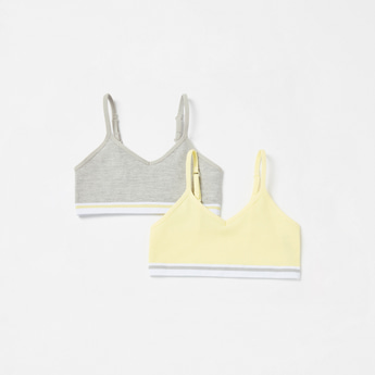 Set of 2 - Ribbed Seamless Sports Bra with Adjustable Straps