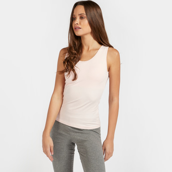 Solid Sleeveless Shaping Camisole with Round Neck
