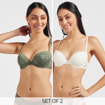 Pack of 2 - Lace Demi Underwired Bra with Hook and Eye Closure
