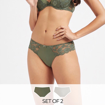 Set of 2 - Lace Brazilian Briefs with Elasticated Waistband