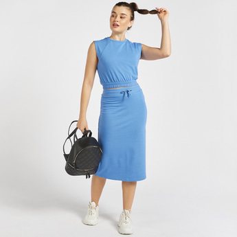 Solid Midi Pencil Skirt with Drawstring Closure and Slit