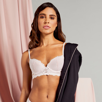 Lace Padded Underwired Demi Bra
