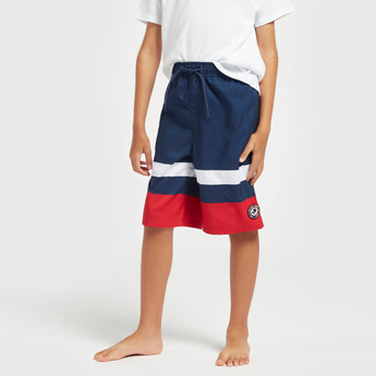Colourblocked Knee Length Shorts with Pockets and Drawstring Closure